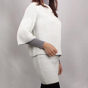 新款时尚潮流休闲套装白色套装毛衣针织衫 厂