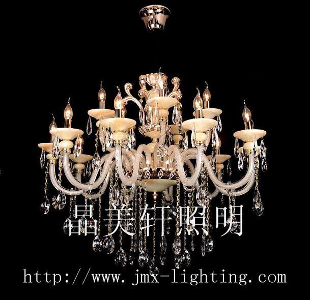浅青玉石蜡烛水晶灯,欧式水晶灯